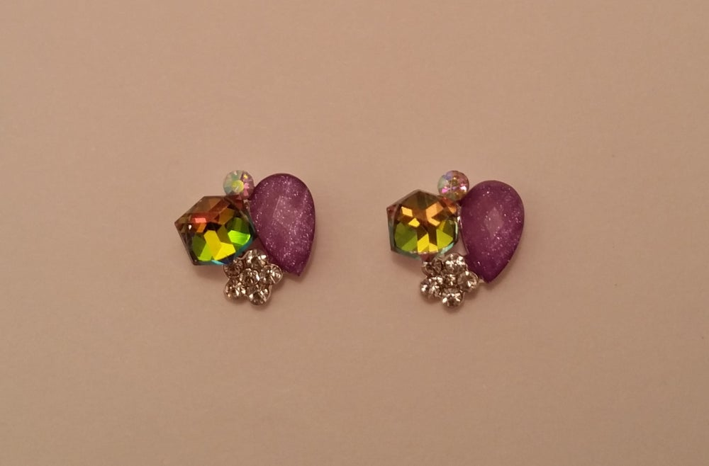 Image of Mystic purple nail charms (2 pcs) 12x10mm