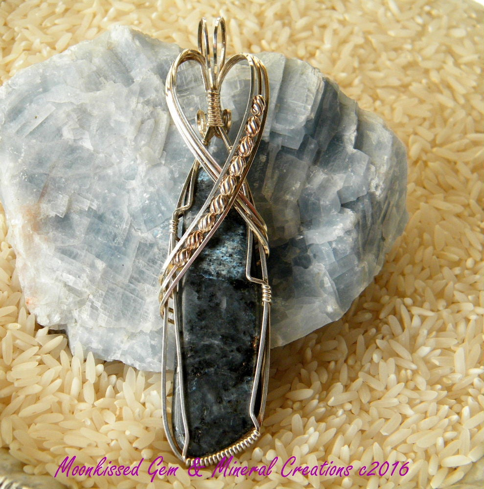 "Image of Larvikite ""Norwegian Moonstone"" and Bead Sterling Silver Wirewrapped Pendant"