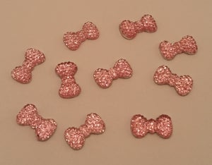 Image of Bling resin bows (10 pcs) 13x7mm Silver, pink, red or teal
