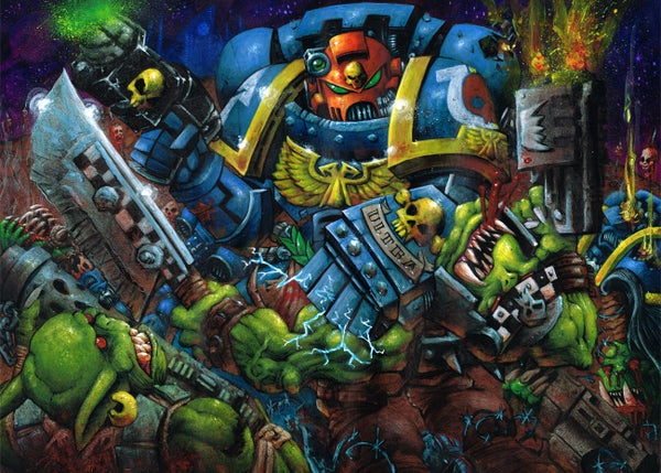 """Image of 'Orc Beatdown' Original 24""""x19""""inch Painting"""