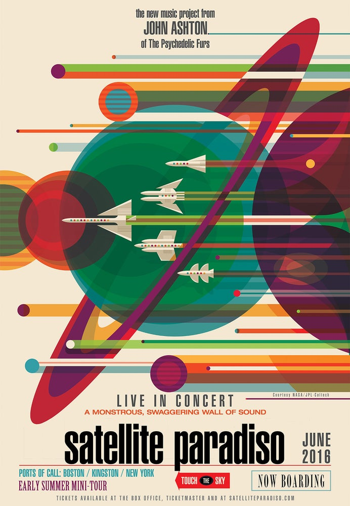 "Image of Satellite Paradiso 12″ × 18″ ""Retro Rockets"" 2016 Tour Souvenir Poster - SIGNED by John Ashton"