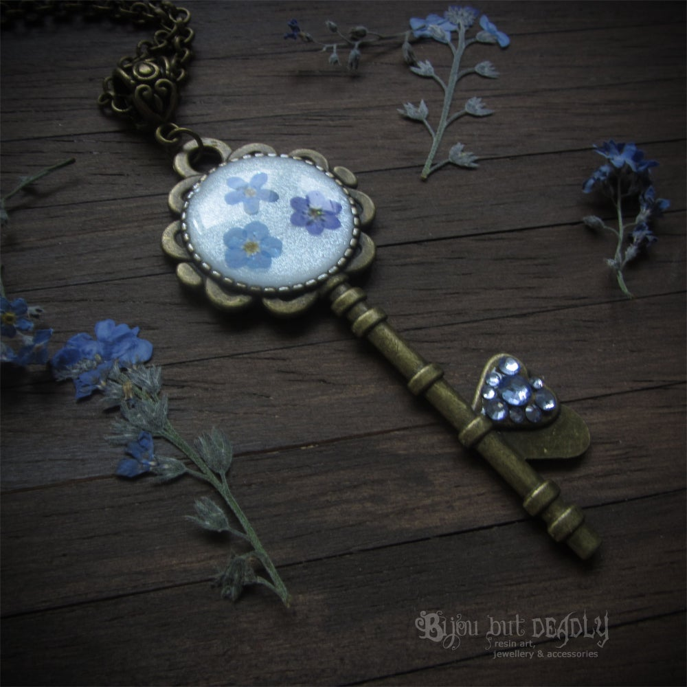 Image of Forget-me-not Flower Key Necklace
