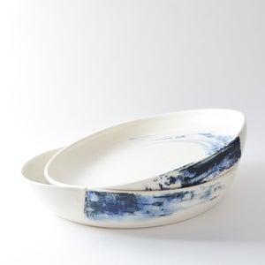 Image of Indigo pleated platter
