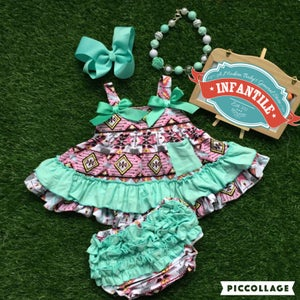 Image of Teal and Pink Boho Babe Swing Top, Aztec Print & Ruffle Bloomers; Summer