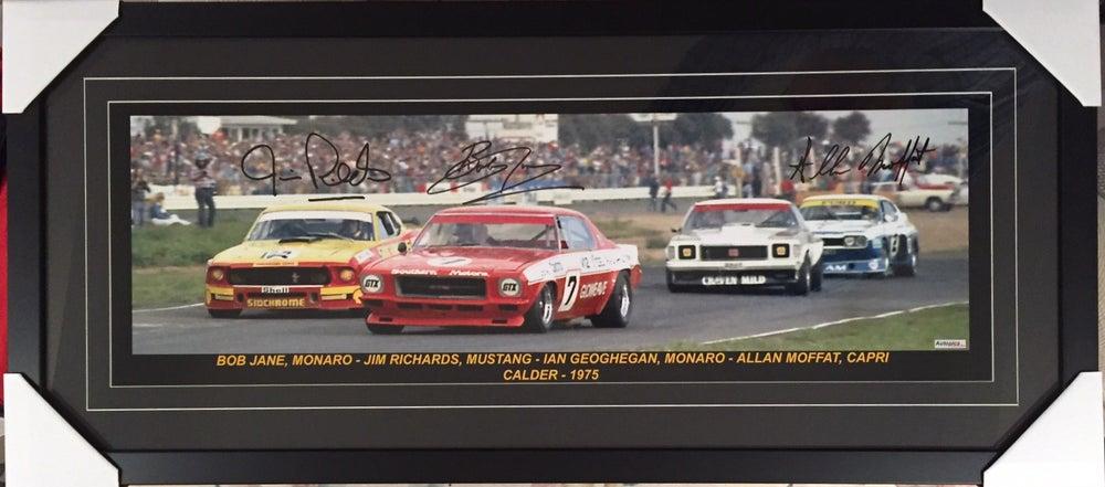 Image of Calder Sports Sedans. Framed and signed by Allan Moffat, Bob Jane & Jim Richards. Limited release.