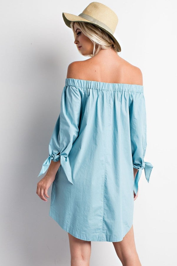 Image of Sky Off the Shoulder Dress