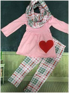 Image of My Plaid Valentine's Day Outfit, Tunic Pants, Includes Scarf, Pink Gray Plaid, Doll Outfit Option