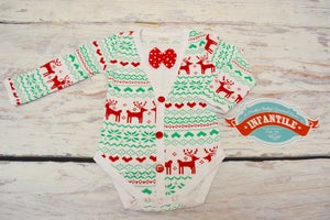 Image of Baby Boy Christmas Long Sleeve Bow Tie Cardigan Onesie, Sibling Set, First Christmas Photo