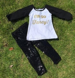 Image of I'm So Fancy Outfit, Black Sequin Pants, Gold Print Raglan, Baby Toddler Little Girl