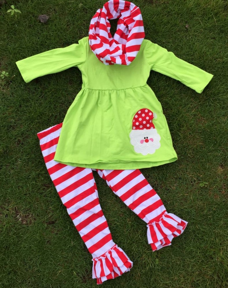 Image of Santa Claus Boutique Outfit, Ruffle Pants, Christmas Outfit, Matching Scarf, baby toddler girl