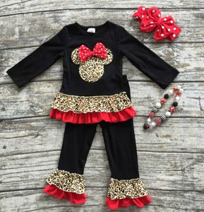 Image of Minnie Mouse Inspired Cheetah Pant Set, Baby Toddler Girl, Back to School