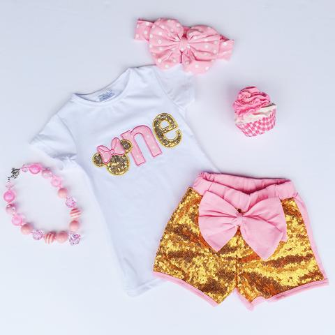 "Image of First Birthday ""One"" Minnie Inspired Gold Sequin Short Set, Baby Toddler, Cake Smash, Photos"