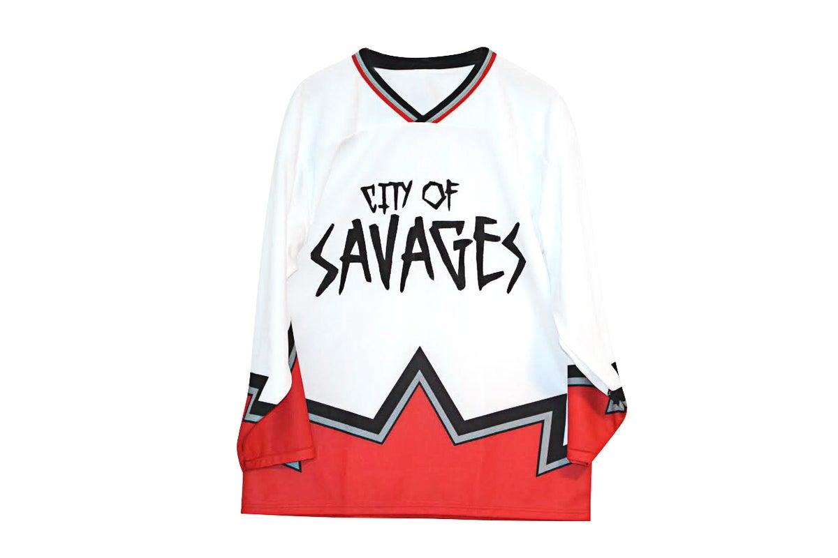 "Image of ""Rising Mercury"" Hockey Jersey (White/Red)"