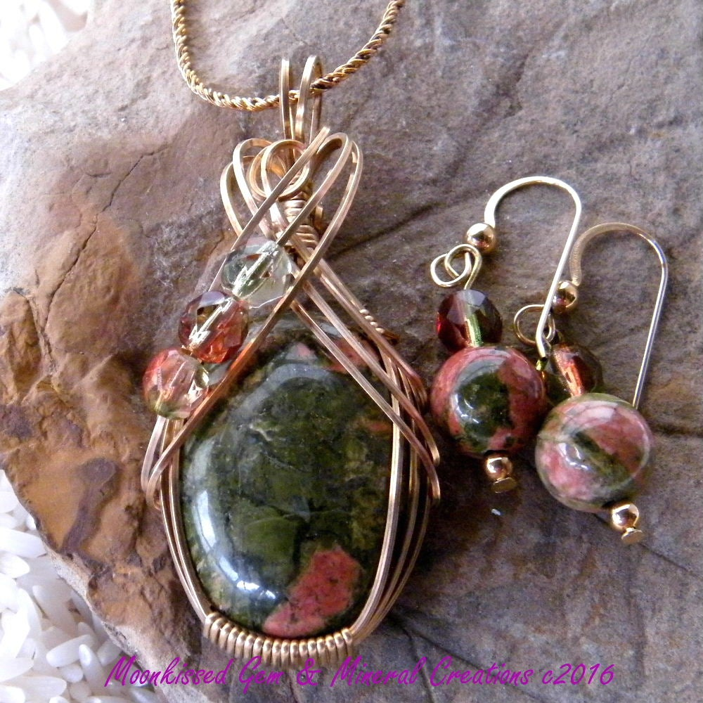 Image of Unakite and Bead 14 Karat Gold Fill Wirewrapped Pendant and Earrings with Chain Set