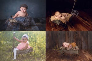 Image of Metal Wagon - Newborn Toddler Prop - NEW - Vintage Style