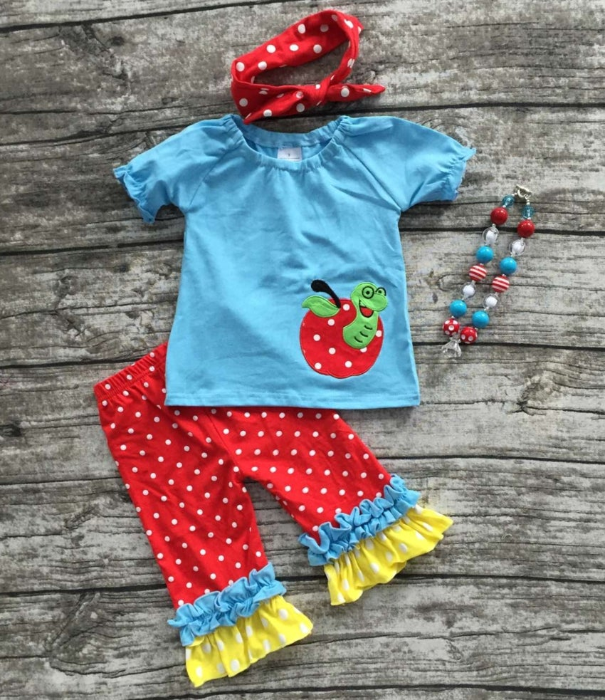 Image of Back to School Babe, Apple School Outfit, First Day of School Top & Ruffle Pant Set, Photos