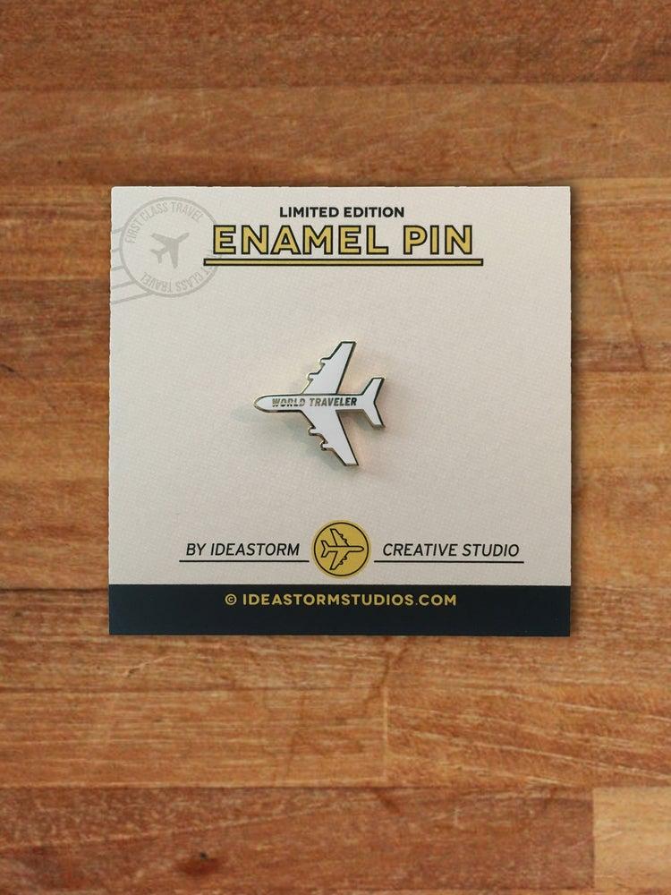 Image of World Traveler Plane Enamel Pin - White Gold Edition