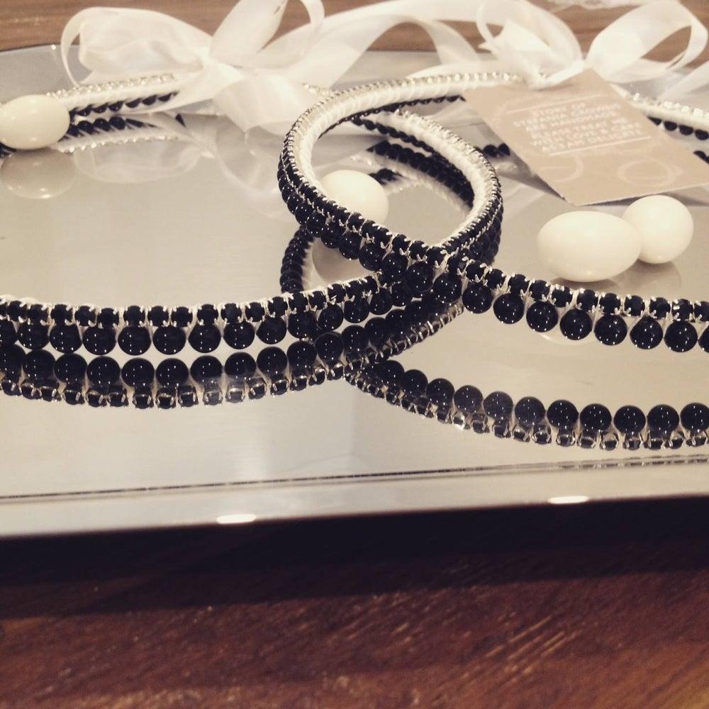 Image of Black Diamante and Swarovski Pearl Stefana