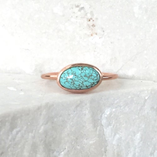Image of Number 8 Turquoise - Solid 14k Rose Gold Ring - Size 6