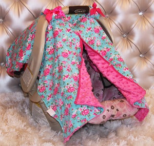 Image of Bright Blue & Pink Vintage Floral Minky Baby Car Seat Cover, Shower Gift, Ready to Ship