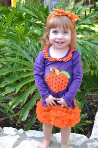 Image of Purple Pumpkin Princess Dress, Ruffle Tutu, Baby Toddler, Little Girl Halloween, Fall Festival