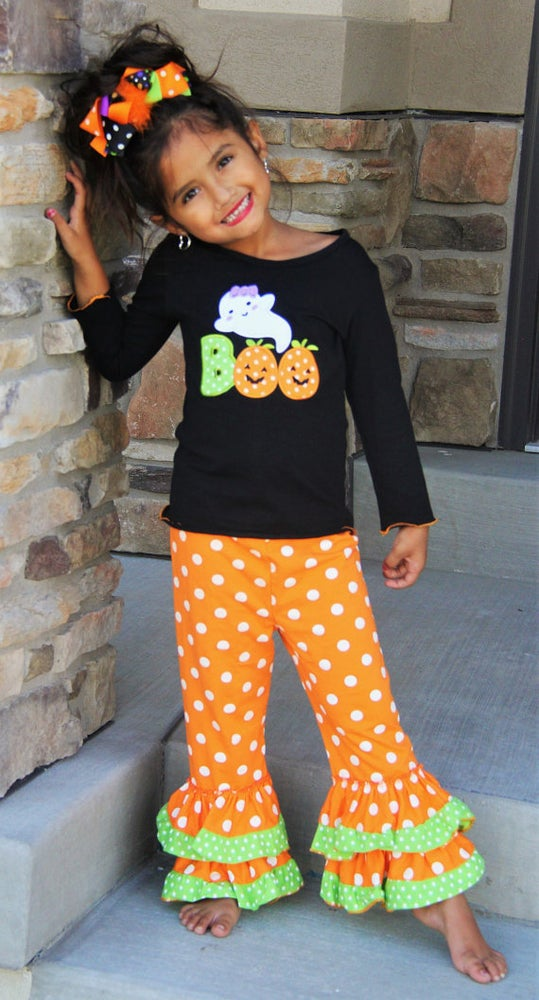 Image of Boo-tiful Boutique Halloween Girl Outfit, Ghost Shirt & Ruffle Pants, Black Orange 2 Piece Set