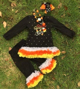 Image of Candy Corn Cutie Top & Pant Set, Baby Toddler Little Girl Halloween Fall Festival Outfit, Ruffles
