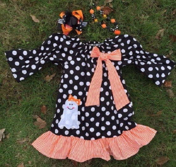 Image of Casper Cutie Applique Ghost Ruffle Dress, Pillowcase Dress, Halloween Ghost Dress