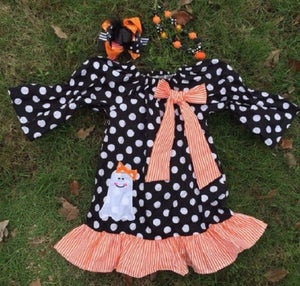 Image of Casper Cutie Applique Ghost Ruffle Dress, Pillowcase Dress, Halloween Ghost Dress