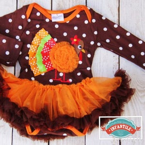 Image of Thanksgiving Turkey Ruffle Tutu Onesie, Little Girl Thanksgiving Outfit, Ribbon Turkey