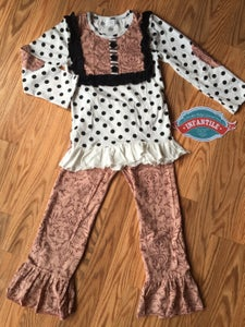 Image of Autumn Beauty Girls 2 Piece Outfit, White Black Polka Dot with Mauve Swirl Pants, Baby Toddler Girl