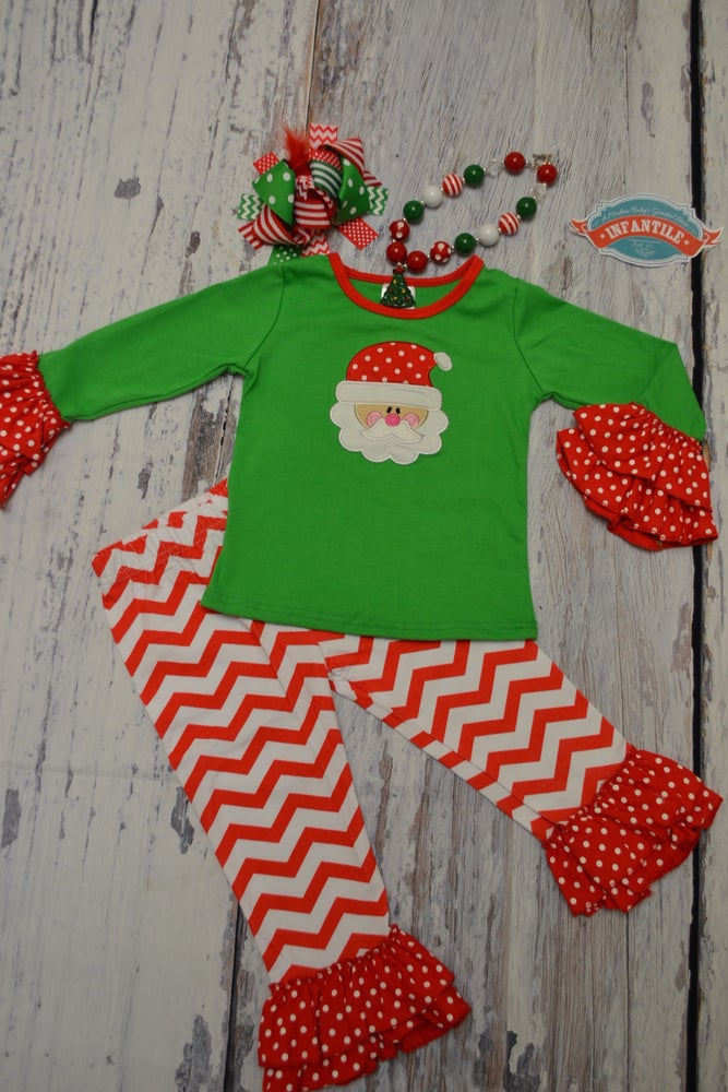 Image of Old Saint Nick Santa Claus Outfit, Long Sleeve Shirt & Ruffle Pant, Toddler Girl Christmas Outfit