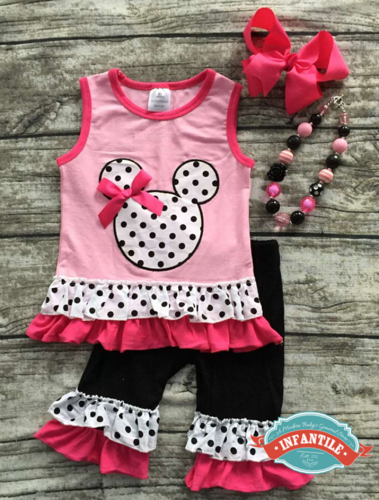 Image of Minnie Mouse Inspired Pink & Black Tank & Ruffle Capris, Disney Trip Outfit, Baby Girl