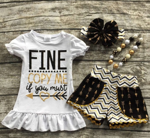 Image of Fine Copy Me If You Must Black and Gold Pom Pom Shorts Set, Baby Girl Toddler, Back, Summer, Photos