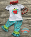 Image of Back to School, Apple School Outfit, First Day of School Top & Ruffle Capri Pant Set, Photos