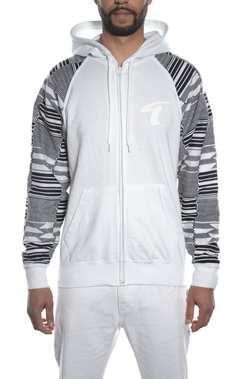 Image of KENTE Hoodie White - Black