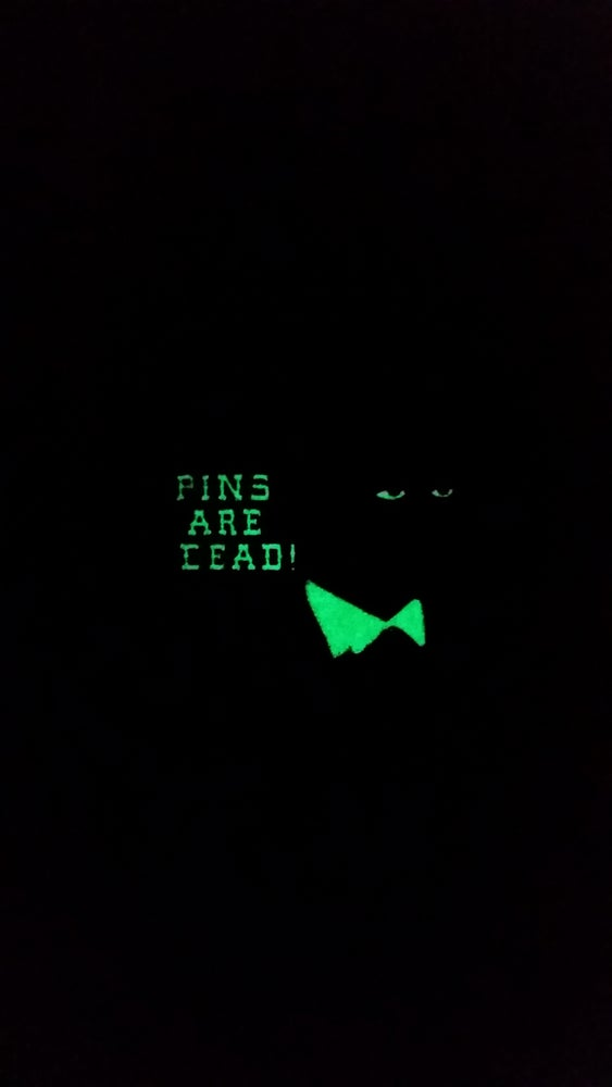 "Image of last 1! ""PINS ARE DEAD"" LAPEL PIN! GLOW IN THE DARK FRIEDRICH NIETZSCHE limited run"