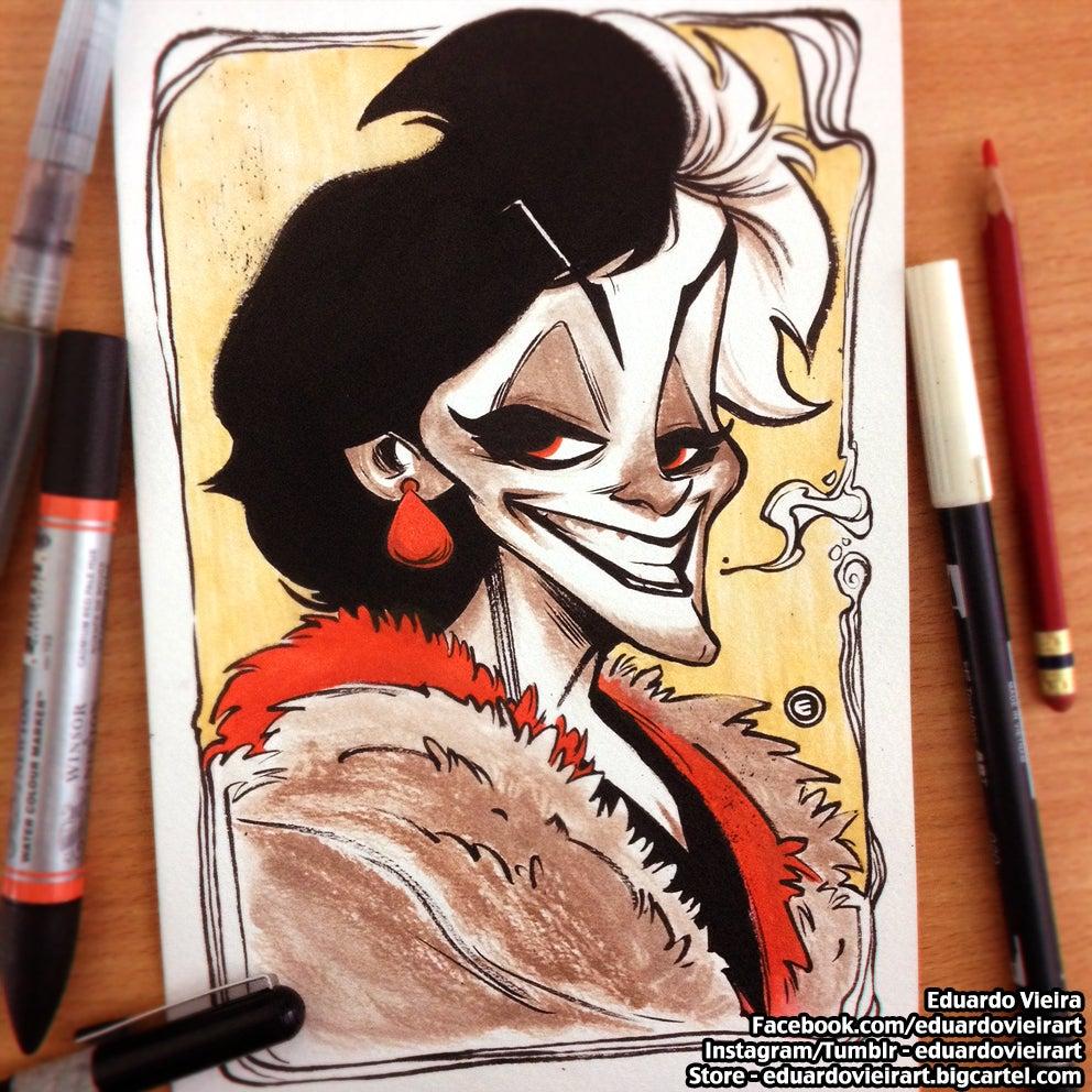 "Image of ORIGINAL ART - Cruella (9"" x 6"")"