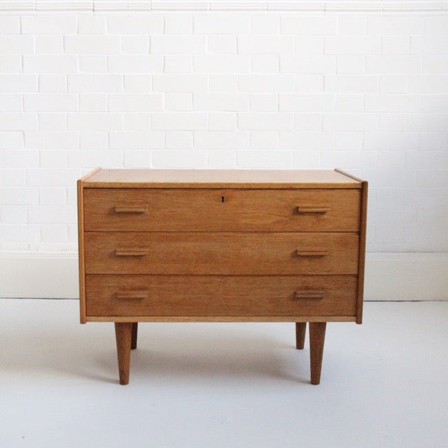 Image of blonde mid century Norwegian small chest of drawers