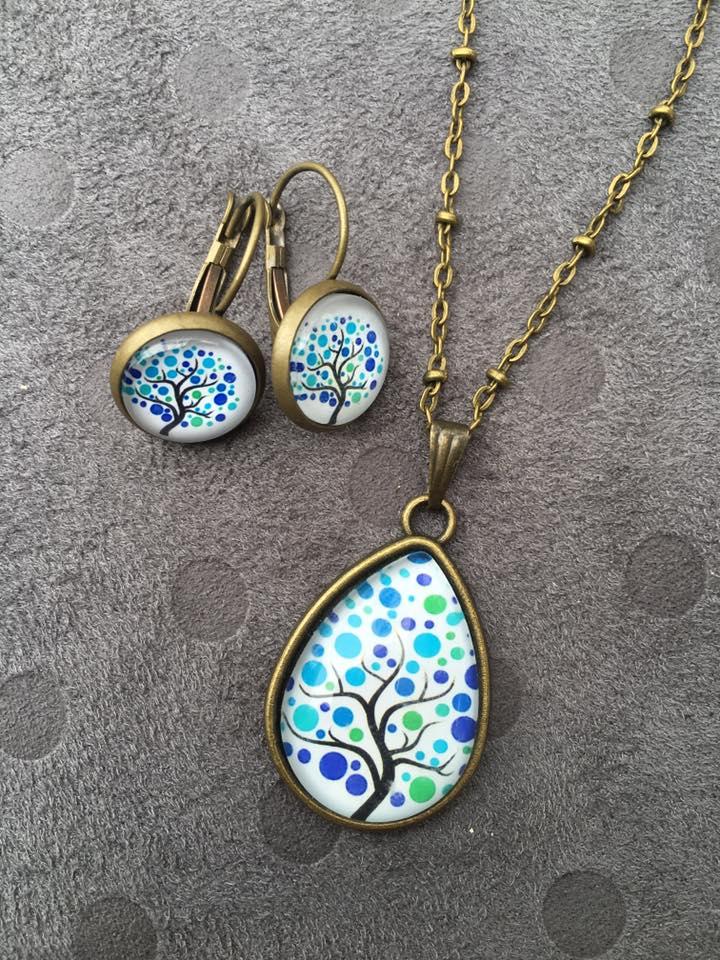 Image of Parure Arbre de vie : collier et boucles d'oreilles bronze