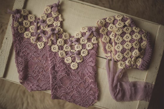 Image of Lilac Bonnet & Romper Set
