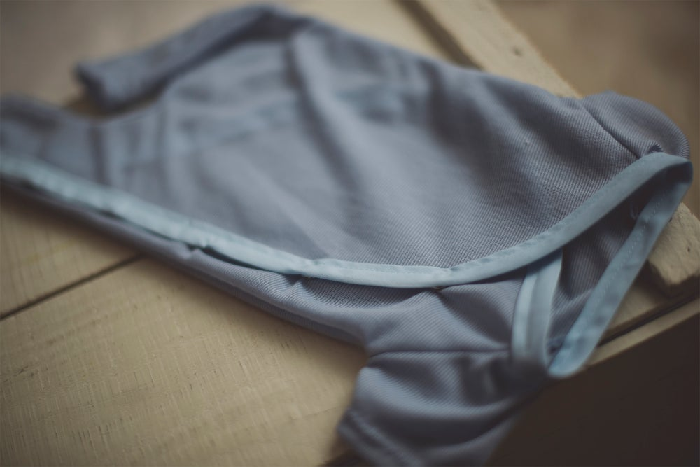 Image of Baby Blue Snap & Tie Sleeper