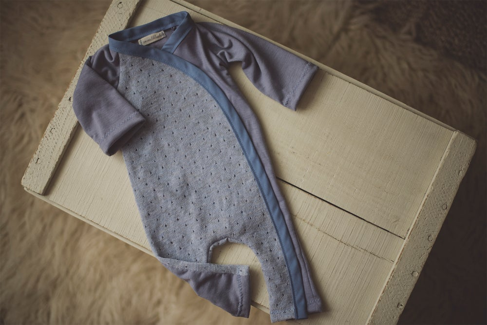 Image of Blue Knit Snap & Tie Sleeper