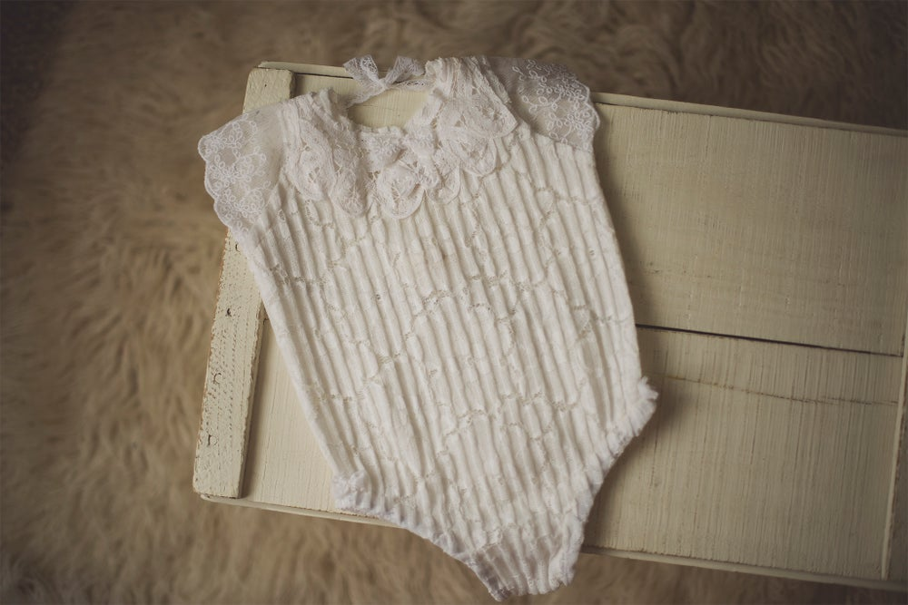 Image of White Lace Romper - Sitter