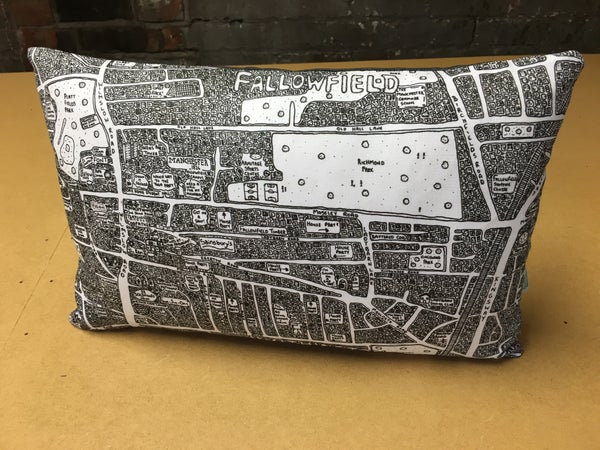 Image of Fallowfield & Withington Doodle Map Cushion
