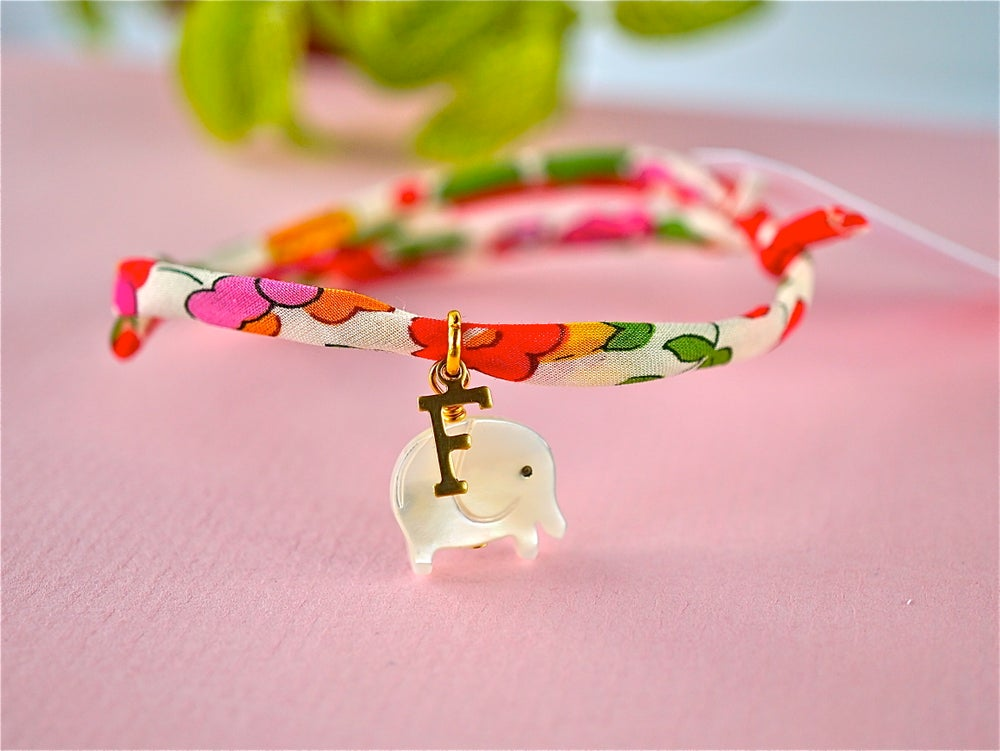 Image of Elephant and letter bracelet