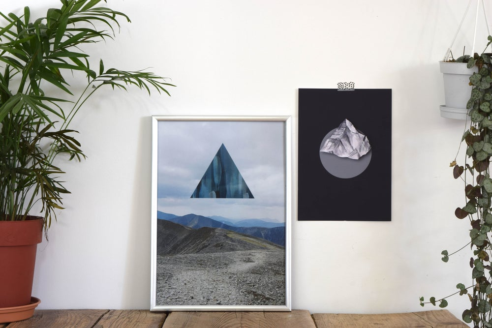 Image of Landscapism 'Blue Mountain Top' A4 Mixed Media Print