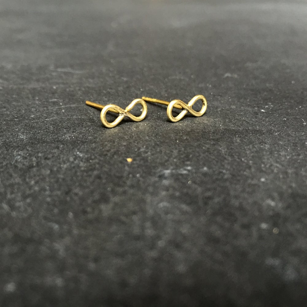 Image of Infinity studs brass