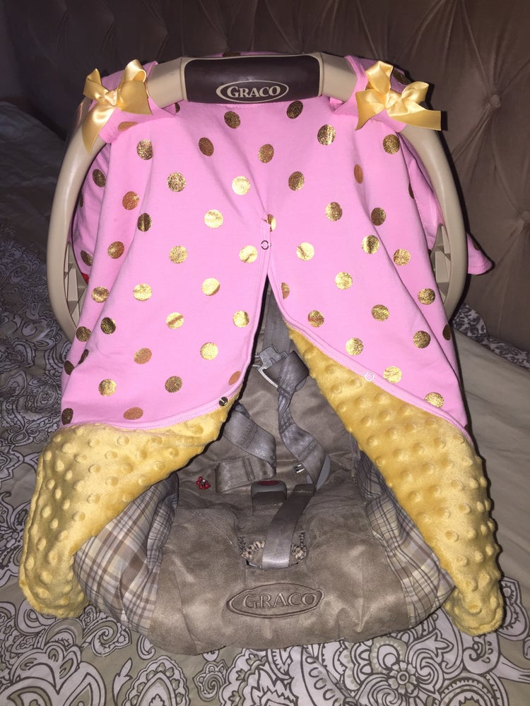 Image of Gold Dot Glamour Minky Baby Car Seat Canopy Cover: Light Pink Minky, Baby Shower Gift, Ready to Ship