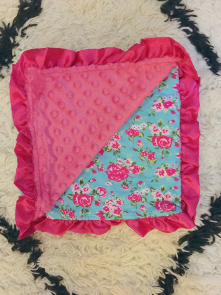 Image of Blue Vintage Floral & Pink Minky Baby Blanket with Satin Ruffles, Gift, Photos, Welcome Baby